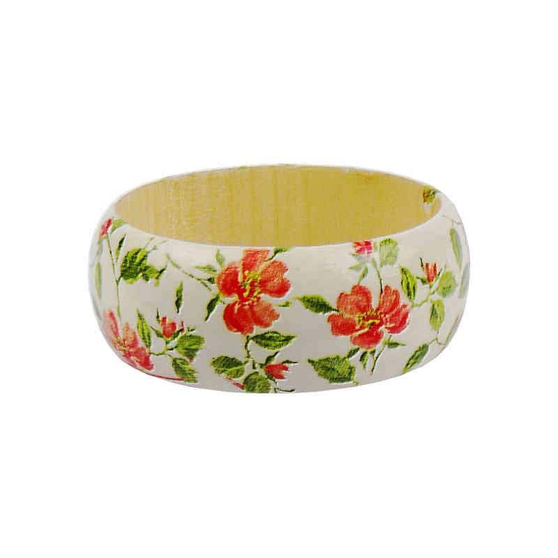 Bransoletka z drewna ozdobiona decoupage w delikatne motywy kwiatowe