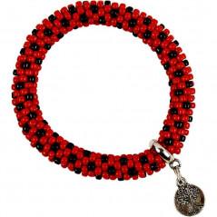Komplet bransoletek w ciekawym zestawieniu czerni z czerwienią z zawieszką
