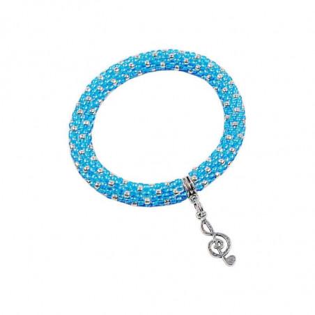 Bransoletka w kolorze jasnoniebieskim i srebrnym z zawieszką w postaci klucza wiolinowego