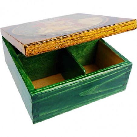 Drewniane pudełko na herbatę ozdobione metodą decoupage