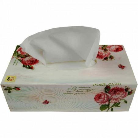 Chustecznik ozdobiony decoupage w delikatne różowe róże