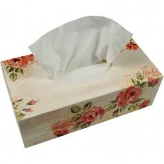 Pudełko na chusteczki ozdobione decoupage w delikatne różowe róże