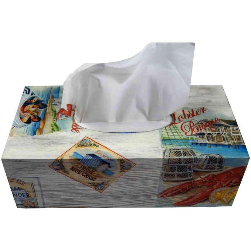 Chustecznik - drewniane pudełko na chusteczki ozdobione decoupage - owoce morza