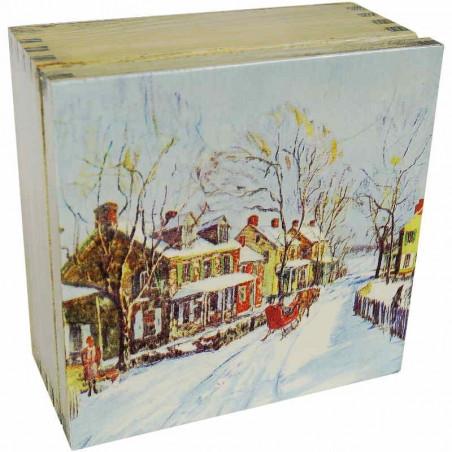 Herbaciarka - zimowe widoczki - drewniane pudełko na herbatę ozdobione dekupaż