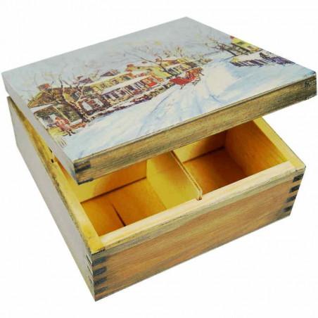 Pudełko na herbatę - zimowe widoczki ozdobione dekupaż