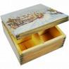 Herbaciarka - pudełko na herbatę ozdobione decoupage - zimowe widoczki