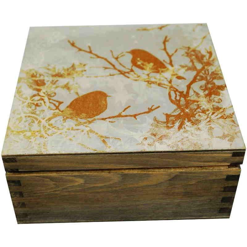Herbaciarka Wróble - pudełko na herbatę ozdobione obrazkiem ze złotymi wróblami i koronkowym wzorem mrozu na szybach