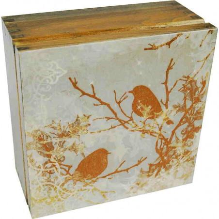 Herbaciarka Wróble - drewniane pudełko na herbatę ozdobione obrazkiem ze złotymi wróblami w spokojnej tonacji