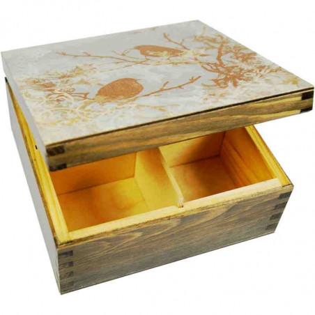 Herbaciarka Wróble - drewniane pudełko na herbatę ozdobione wróblami i wzorem mrozu