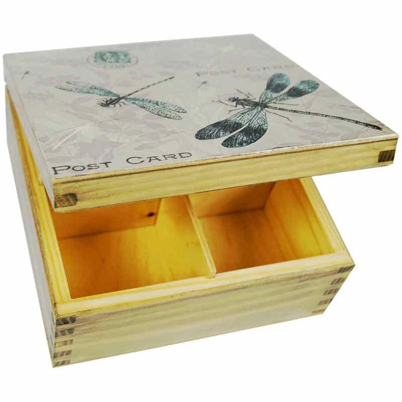 Herbaciarka pudełko na herbatę wykonane z drewna ozdobione ważkami decoupage