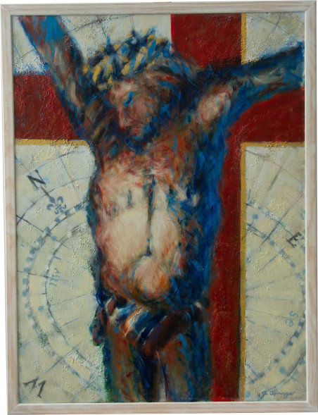 Postać Chrystusa na tle róży wiatrów kierunkowskazu żeglarzy