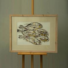 Obraz Połów I - Monotypia na kartonie z płatkami złota w miejscach połyskujących łusek podkreśla wrażenie