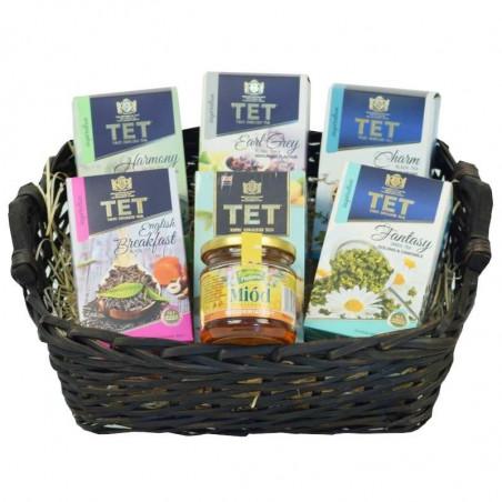 Fantazyjny koszyk na prezent - zestaw herbat