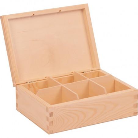 drewniane pudełko wewnątrz na herbatę sześć przegródek