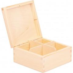 wewnątrz pudełko na herbatę cztery przegródki do decoupage na prezent