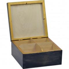 Bajkowy las -pudełko na herbatę z motywem zimowym i kotkami