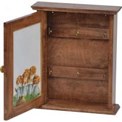 drewniana szafka na klucze z kotem