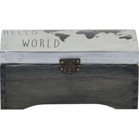 szkatułka kuferek z motywem mapy świata