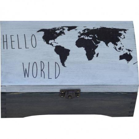 drewniany kuferek z mapą i napisem hello world