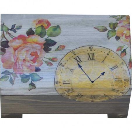 drewniany kuferek na biżuterię z motywem zegara