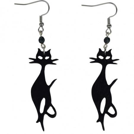 Kolczyki z uroczym czarnym kotkiem - handmade