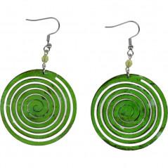 Kolczyki ręcznie wykonane, zielona tonacja Green Circle