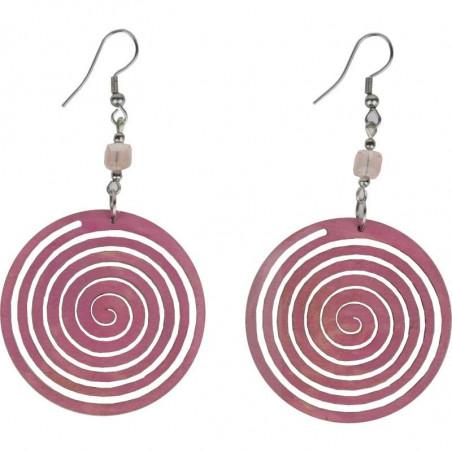 Kolczyki ręcznie wykonane, różowej tonacja  - Pink Circle