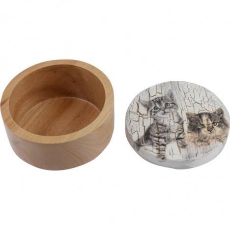 szkatułka decoupage z kotkiem