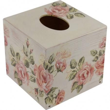 Chustecznik - drewniane pudełko na chusteczki ozdobione decoupage Różany ogród