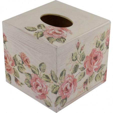 drewniane pudełko na chusteczki ozdobione metoda dekupaż z motywem kwiatów róży