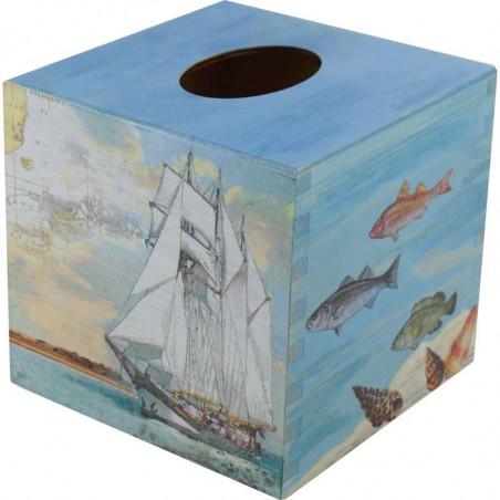 Chustecznik - drewniane pudełko na chusteczki ozdobione decoupage morski motyw
