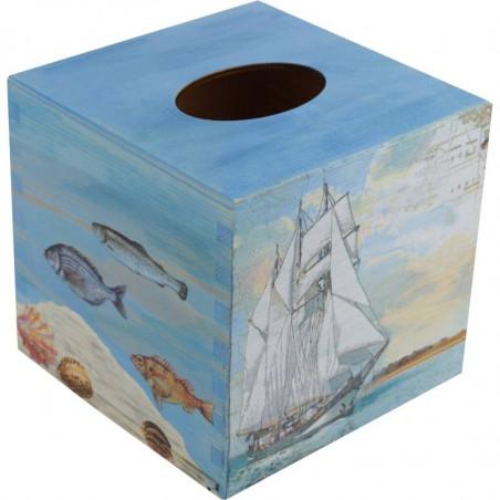 drewniane pudełko na chusteczki ozdobione metoda dekupaż z motywem morskim kolor niebieski