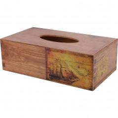 Stulowy chustecznik - drewniane pudełko na chusteczki ozdobione decoupage morski motyw