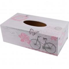 Stulowy chustecznik z motywem Paryż - drewniane pudełko na chusteczki ozdobione decoupag
