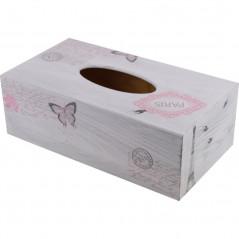 drewniane pudełko na chusteczki ozdobione metoda dekupaż z motywem Paryż