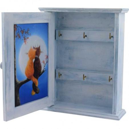 drewniana szafka na klucze z kotkami