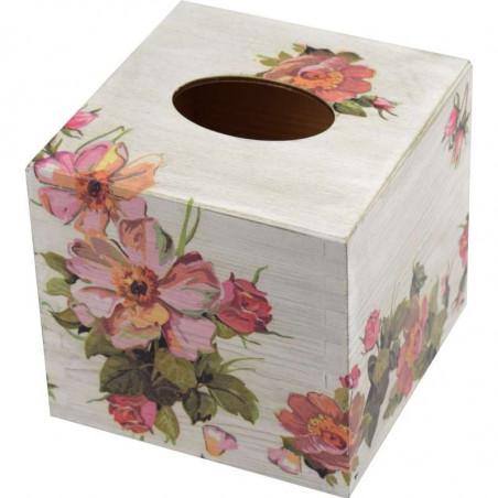 Chustecznik - drewniane pudełko na chusteczki ozdobione decoupage