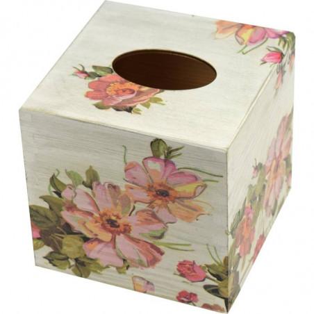 kwadratowe drewniane pudełko na chusteczki ozdobione metoda dekupaż z motywem kwiatów