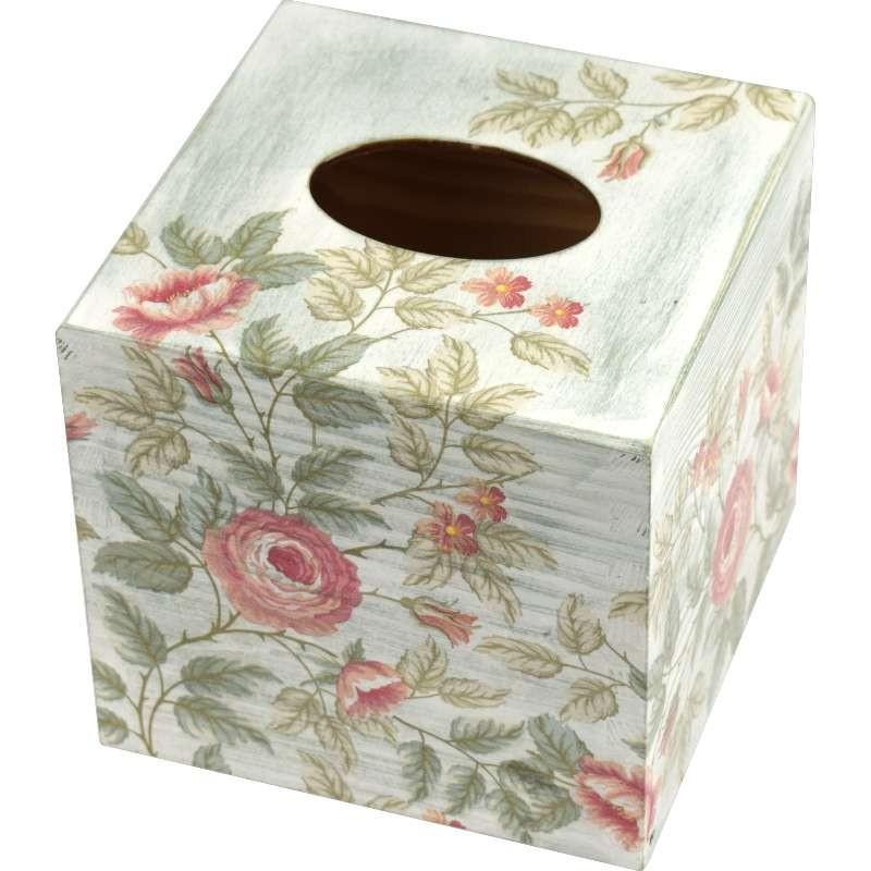 Chustecznik - drewniane pudełko na chusteczki ozdobione kwiatami