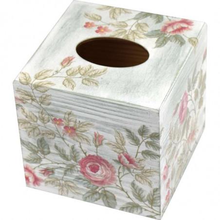 kwadratowe drewniane pudełko na chusteczki ozdobione metoda dekupaż z motywem kwiatowym
