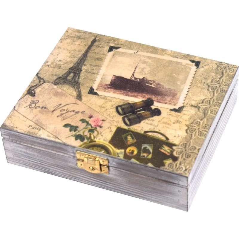 drewniana szkatułka na biżuterię lub karty