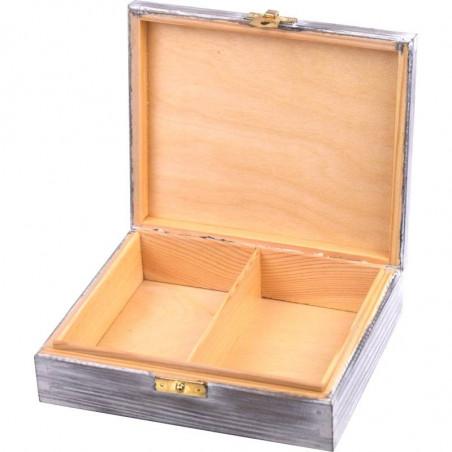 szkatułka dwie przegródki na biżuterię lub karty