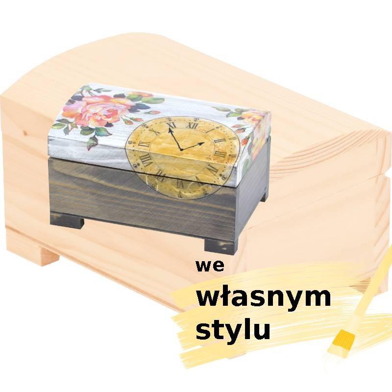 drewniany kuferek na prezent ozdobny we własnym stylu