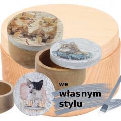 personalizowane we własnym stylku drewniane pudełko owalne