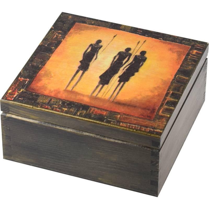 Pięknie ozdobione pudełko na herbatę Afrykańscy wojownicy z dzidami