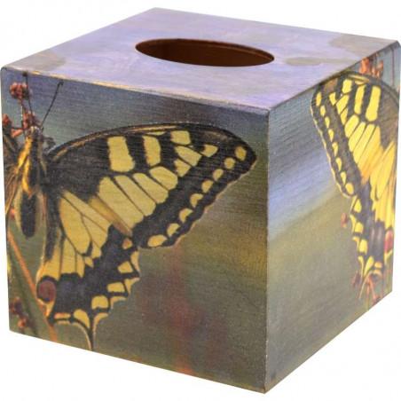 ozdobne drewniane pudełko na chusteczki ozdobione metoda dekupaż z motylem