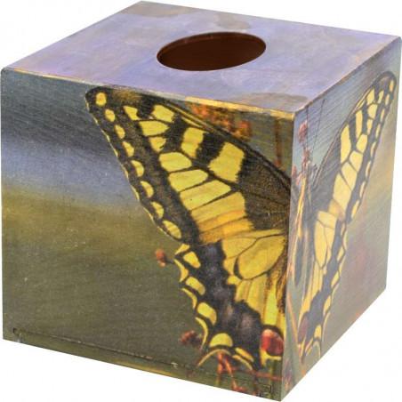 kwadratowe drewniane pudełko na chusteczki ozdobione motylem paź królowej