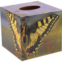 Chustecznik Paź Królowej - drewniane pudełko na chusteczki ozdobione motylem