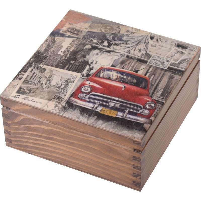 Pięknie ozdobione pudełko na herbatę Zabytkowe Auto
