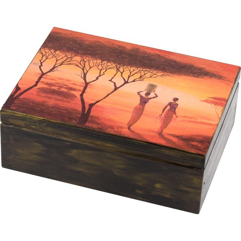 Pięknie ozdobione pudełko na herbatę Kobiety w Afrykańskiej sawannie